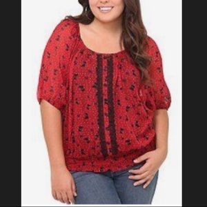 Torrid Scotty Dog Red Blouse 14 16 Size 1